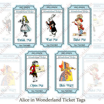Printable Alice in Wonderland Drink Me Eat Me Tags Tea Partys Digital Download Mad Hatter Queen of Hearts White Rabbit Journal Spots