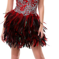 Red Feathered and Rhinestoned Divine Short Homecoming Dress - Unique Vintage - Cocktail, Pinup, Holiday & Prom Dresses.