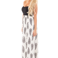 Ivory Printed Maxi Dress with Black Lace Sweetheart Bodice