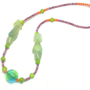 Genuine handblown hollow glass and real jade statement necklace, high-contrast colors, beaded necklace, unique piece