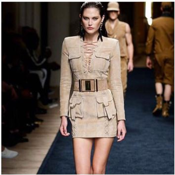 HIGH QUALITY Newest Fashion 2016 BAROCCO Unique Runway Dress Women's Long Sleeve Deep V Lacing Vintage Faux Suede Dress