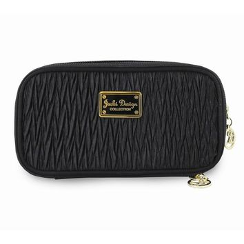 Vintage Allure Black Double Zipper Cosmetic Bag
