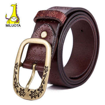 genuine leather belts for women fashion wide belt brand name