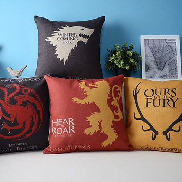 American Styles Song Of Ice And Fire Printing Pillowcase Game Of Thrones Pattern Cushion  Decorative Pillows Home Decor For Sofa