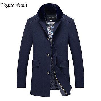 Vogue Anmi.Autumn And Winter Overcoat Men Long Section Mens Wool Coat Casual Fur Collar Men's Woolen Coat Wool & Blends Warm