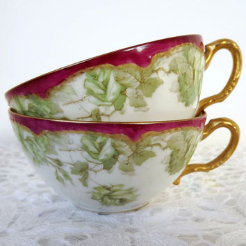 Late 1800's Haviland -Limoges Orphan Teacups with Victorian Design - French Country Chic, Shabby Chic - Set of Two (2)