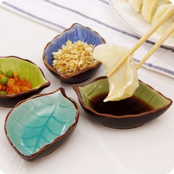 Creative Handcraft Leaves Ceramic Plates Japanese Sushi Dishes Snacks Kitchen Vinegar Seasoning Sauce China Dinnerware -30