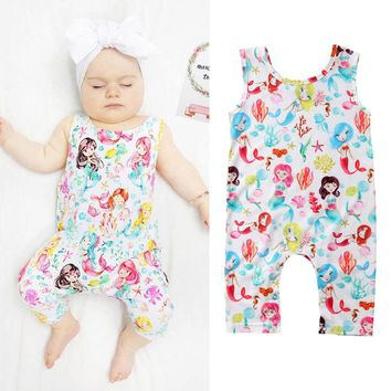 US Stock Newborn Baby Girl Mermaid Long Romper Jumpsuit Bodysuit Clothes Outfits