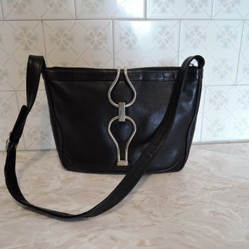 Vintage Gucci Italian italy black real leather women´s handbag bag shoulderbag