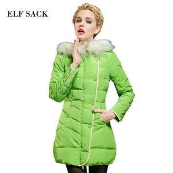 ELF SACK Women Winter Duck Down Jacket With Hood Slim Thick Warm Light Outwear Coat 2015 New Arrival Fashion Brand Free Shipping