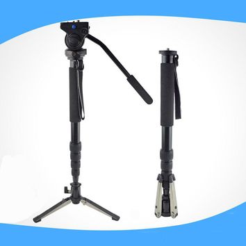High Quality Monopod + Fluid Pan Head Ball + DV Unipod Mobile Phone Clip Holder For Canon For Nikon DSLR Camera