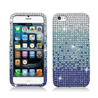 Aimo Wireless IPH5PCDI175 Bling Brilliance Premium Grade Diamond Case for iPhone 5 - Retail Packaging - Blue Waterfall