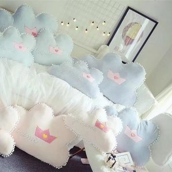 New Romantic Clouds Pillow with French Words Plush Toys Cute Cartoon Clouds Pillow Cushion Baby Kids Room Decor Dolls