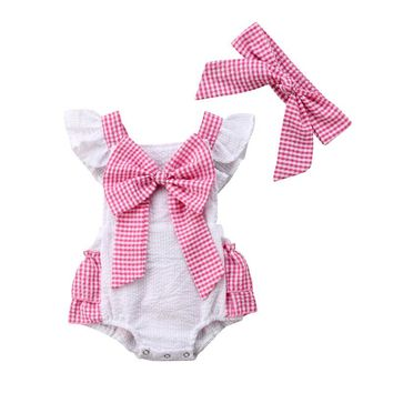 Red & White Gingham Romper with Headband