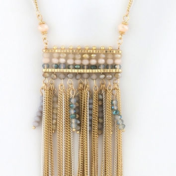 Double Layered Glass Bead Tassel Necklace