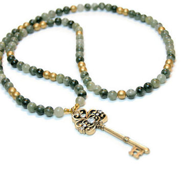 Large Key Necklace | Gold Key | Gold Beads | Green Line Jasper | Neutral Chic Necklace | Bohemian Boho Jewelry
