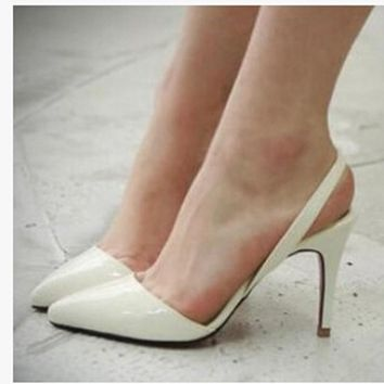 Sexy Point Toe Patent Leahter High Heels Pumps Shoes Newest Woman's Red Sandals Heels Shoes Wedding Shoes 9cm 35-41 Size