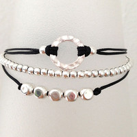 Triple Silver Friendship Bracelet with Adjustable Cord in Black