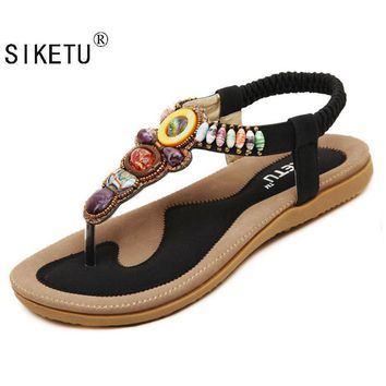 SIKETU 2017 New Korean Comfort Women Sandals Bohemian Beaded Flat Shoes Large Size 43
