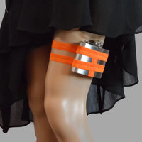 Adjustable Flask Garter 4oz Flask  -Bright Neon Orange - great for orange bridesmaid dress -petite plus size available