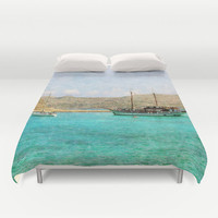 Art Duvet Cover At Sea 1 photography home decor photograph photo bedding full queen king bedroom texture ocean aqua sky blue nautical ship