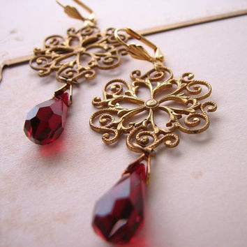Filigree and garnet crystal drop earrings by shadowjewels on Etsy