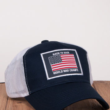 Back to Back World War Champs Mesh Hat in Navy by Rowdy Gentleman