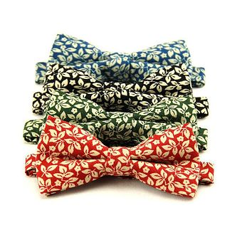 Casual Gentlemen Floral Printed Bow Tie Cotton Wedding Party Skinny Tuxedo Bow Ties