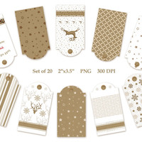 Kraft Christmas Tags Labels Clip Art Set of 20 Printable PNG Designs Instant Download Digital Kraft Gift Tags Gift Label Brown White