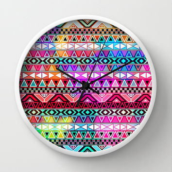 Neon Aztec | Purple Pink Neon Bright Andes Abstract Pattern Wall Clock by Girly Trend