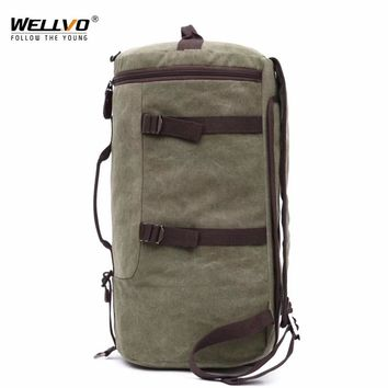 Men Huge Luggage Travel Bag Army Bucket Backpack Multifunctional Military Canvas Backpacks Large Shoulder Bags Pack XA111WC