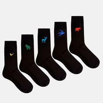 ASOS 5 Pack Socks With Animal Embroidery