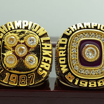 Los Angeles Lakers Basketball Championship Replica Rings 2 Years Set
