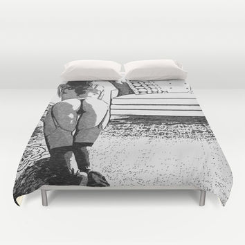 Good Pet - Sexy Submissive Girl Fantasy Artwork, black and white erotic, hot booty, lingerie view Duvet Cover by Peter Reiss