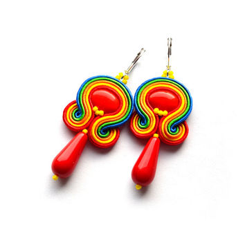Soutache statement earrings orecchini embroidery rainbow multicolored orecchini boucles d'oreilles pendientes soutache bijoux red orange