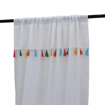 Sheer Curtain Panel, Tassel Curtains, Sheer Linen Curtain, Sheer Linen Drapes, Christmas Gifts, Curtains For Nursery, Curtain With Tassels