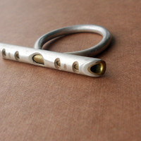 Sterling Silver and Brass Ring Whistle Ring Size 85 by ErinAustin