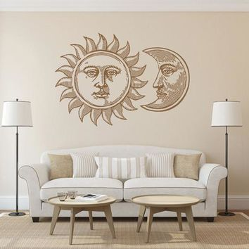 ik1566 Wall Decal Sticker Sun Moon Day Month night sky lounge children bedroom