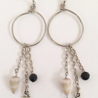 Hawaiian Cone Shells Charm Hoop Earrings