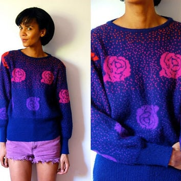 Vtg Neon Roses Pink Purple Orange Navy Fuzzy Sweater