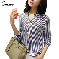 Summer New blouse & shirts women striped V neck clothing OL Style shirt chiffon blouse women work wear tops Q091