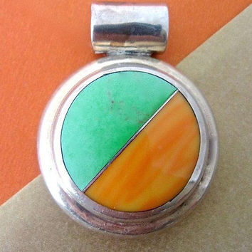 Green Turquoise Spiny Oyster Pendant, Sterling Silver SILVERWORLD Taxco Vintage