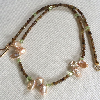 Hessonite Granet Necklace, Genuine Peridot, Petal Pearls, Gold Vermeil, Handmade Necklace, Artisan Jewelry, US Shipping Included, Her Gift
