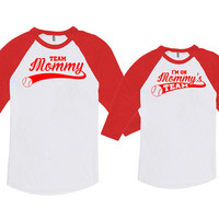 Mommy And Me Outfits Mom And Baby Shirts Mother And Son Shirts Team Mommy I'm On Mommy's Team Bodysuit American Apparel Unisex DN-642-644