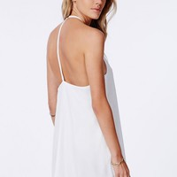 Missguided - Laslie White Strappy Swing Chiffon Dress