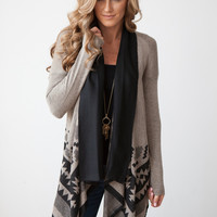 Tribal Print Waterfall Cardigan - Mocha/Black
