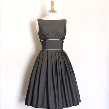 Grey Vintage Cotton Tiffany Prom Dress - Made by Dig For Victory - FREE SHIPPING worldwide