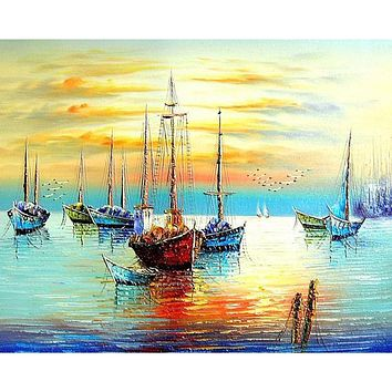 Framed Sailing Boat Seascape DIY Painting By Numbers Kits Acrylic Paint On Canvas Abstract Modern Wall Art Picture Home Decor