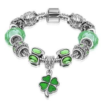 After The Rain Artisan Loaded EU Charm Bracelet Chloe Green Beads w/ Optional Authenti
