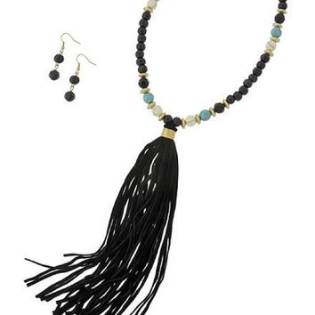 Black Suede Leather Wood Bead Turquoise / White Stone Tassel Necklace & Earrings